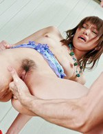 Kana Mimura with legs in ropes is fucked with vibrator and finger