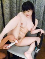 Hina Maeda Asian has clit under vibrator and is fucked with dildo