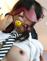 Kotomi Asakura Asian gets vibrators on hairy crack and sucks tool