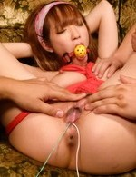 Sana Anzyu Asian in ropes and with ball in mouth is aroused a lot