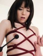 Sena Sakura Asian is aroused with vibrator till pees on the couch