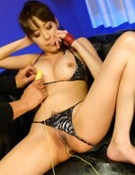 Akari Minamino with cum on mouth gets vibrator more and more
