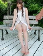 Yuri Sato Asian river of water in her asshole and pussy outdoor