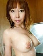 Minami Kitagawa Asian with big hooters licks and sucks two dongs