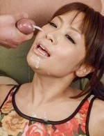 Maika Asian gets cum on face after getting vibrators on beaver