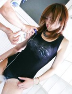 Yuu Mizuki Asian gets shower over nylon bath suit and over pussy