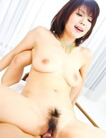 Azumi Harusaki Asian in black lingerie gets sperm from two dicks