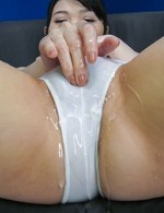 Honami Uehara is adorned with cum on cans and gets vibrator