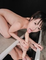 Kotomi Asakura on heels rides licked dildo and squirts in the end