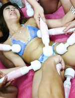 Mahiru Tsubaki Asian has lot of vibrators on body and cum on face