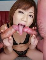 Tomoka Sakurai gets huge quirt from vibrator while sucking cocks